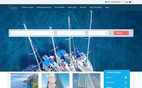 Screenshot of Home Page sailingeurope.com - Sailingeurope - Top Yacht Charter and Sailing Holidays Platform - captured Oct. 4, 2017