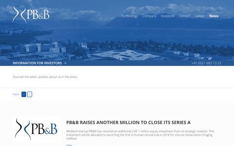 Screenshot of Press Page pbbtech.com - News : PB&B | A Swiss MedTech Start-Up - captured July 6, 2018
