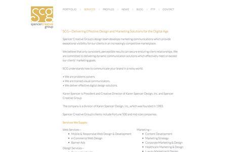 Screenshot of Services Page spencercreativegroup.com - SCG—Delivering Effective Design and Marketing Solutions for the Digital Age              | Services | Spencer Creative Group - captured Sept. 30, 2014