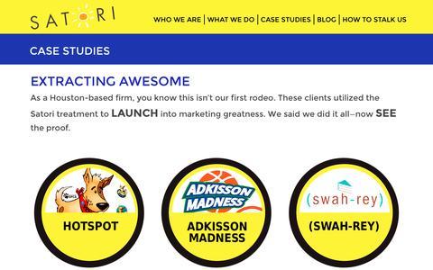 Screenshot of Case Studies Page satorimarketing.net - Case Studies - Satori Marketing - captured July 22, 2016