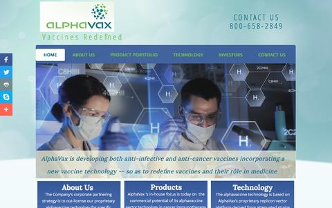 Screenshot of Home Page alphavax.com - AlphaVax, Inc. - anti-infective & cancer vaccines, development of medicines and vaccines - captured May 29, 2017