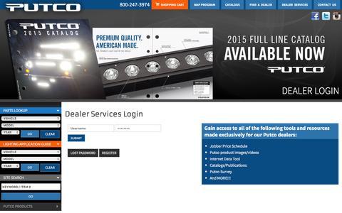 Screenshot of Login Page putco.com - Chrome Trim, LED Lighting, Car Accessories, Truck Accessories, and Grilles from Putco - captured Dec. 15, 2015