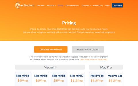 Screenshot of Pricing Page macstadium.com - MacStadium Pricing | Mac Hosting and Cloud Solutions - captured July 27, 2018