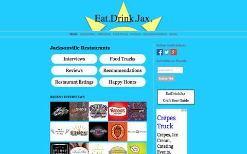 Screenshot of Home Page eatdrinkjax.com - Jacksonville Restaurant Guide. Recommendations, reviews & interviews - captured Jan. 26, 2015