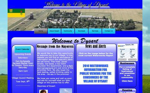Screenshot of Home Page dysartsk.ca - Village of Dysart 2014 A - captured Oct. 10, 2015