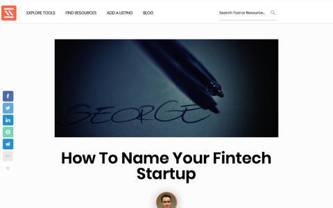 Screenshot of Home Page startupstash.com - How to Name Your Fintech Startup   Startup Stash - captured April 24, 2019