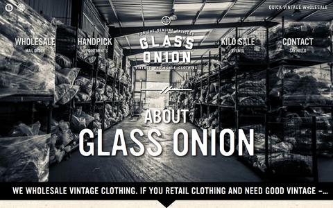 Screenshot of About Page glassonionvintage.com - About Glass Onion Vintage Wholesale - captured Oct. 2, 2014