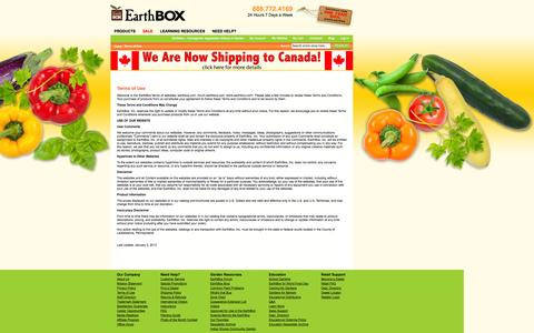 Screenshot of Terms Page earthbox.com - Terms of Use  - EarthBox - Homegrown Vegetables Without A Garden - captured Sept. 24, 2014