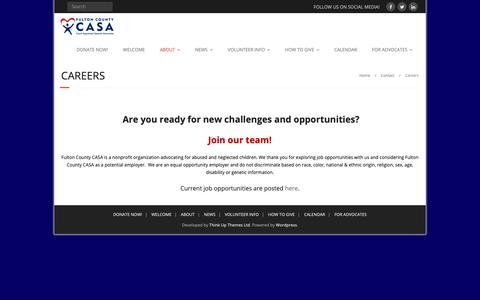 Screenshot of Jobs Page fultoncountycasa.org - Careers – Fulton County CASA is a 501(c)(3) - captured Oct. 11, 2018