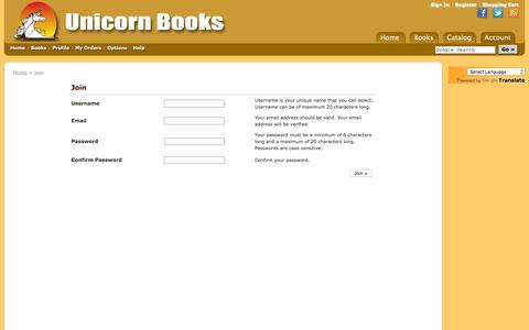 Screenshot of Signup Page unicornbooks.in - User :: Join | Unicorn Books - captured Feb. 17, 2016