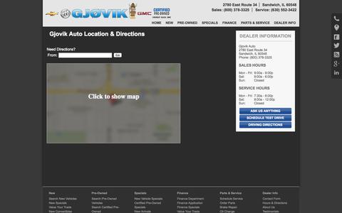 Screenshot of Maps & Directions Page gjovikauto.com - Hours and Location Gjovik Auto-Sandwich, IL Chevrolet, Buick, GMC - captured Sept. 30, 2014