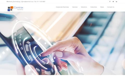 Screenshot of Home Page centrax.co.za - Centrax Systems | Home - captured Sept. 27, 2018