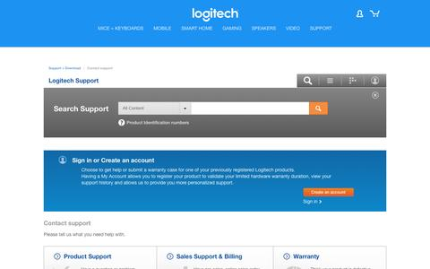 Screenshot of Contact Page logitech.com - Logitech Support - captured July 9, 2016