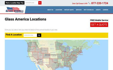 Screenshot of Locations Page glassusa.com - Windshield Repair & Replacement Service Nearest You | Glass America - captured Sept. 28, 2018