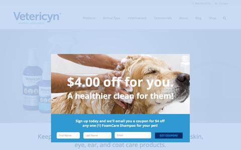 Screenshot of Home Page vetericyn.com - Vetericyn animal wound & skin care products are safe for all animals - captured Oct. 30, 2017