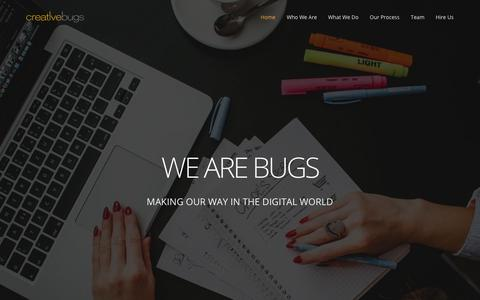 Screenshot of Home Page creativebugs.net - Digital Agency - captured July 21, 2018