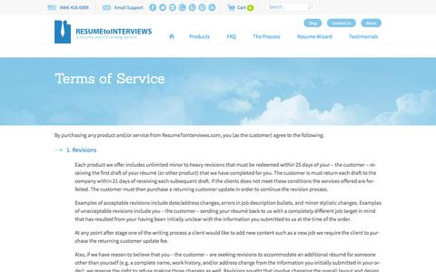 Screenshot of Terms Page resumetointerviews.com - Terms of Service - Resume to Interviews - captured Jan. 26, 2016