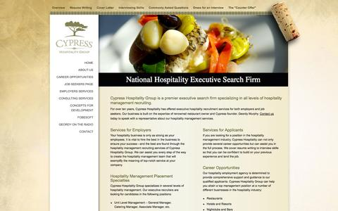 Screenshot of Home Page cypresshospitalitygroup.com - Hospitality Executive Search Firm | Hotel and Restaurant Management Recruiting - captured Sept. 30, 2014