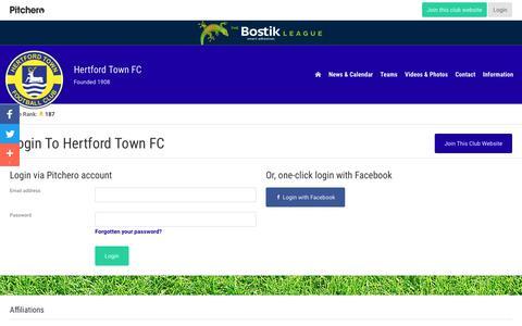Screenshot of Login Page pitchero.com - Hertford Town FC - captured May 6, 2018