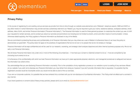 Screenshot of Privacy Page elemention.com - Privacy Policy | Elemention Health & Sport Pvt. Ltd. - captured Sept. 25, 2018