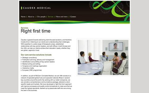 Screenshot of Services Page caudex.com - Caudex Medical - Services - captured Oct. 2, 2014