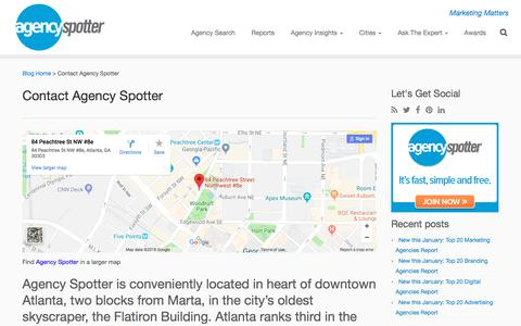 Screenshot of Contact Page agencyspotter.com - Contact Agency Spotter for Creative Agency Search - captured Feb. 19, 2018