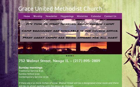 Screenshot of Home Page neogagrace.com - Grace United Methodist Church - captured Feb. 22, 2016