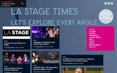 Screenshot of Press Page lastagetimes.com - News | LA STAGE TIMES - captured Oct. 27, 2014