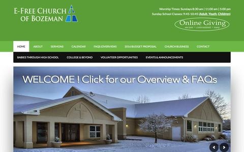 Screenshot of Home Page efcb.org - Evangelical Free Church of Bozeman (E-Free) – Leading people of all ages and all stages to a real transformation in Christ . - captured Jan. 31, 2016