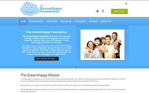 Screenshot of Home Page dreamhappy.org - Home » DreamHappy Foundation - captured Oct. 6, 2014