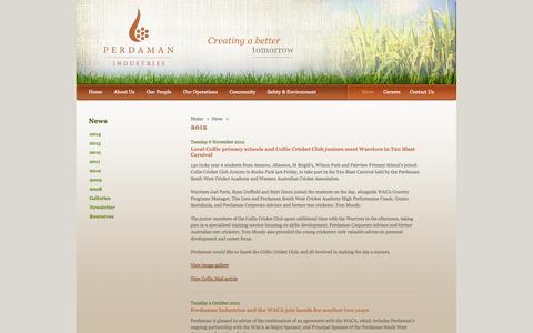 Screenshot of Press Page perdaman.com.au - Perdaman Industries: 2012 - captured Oct. 2, 2014