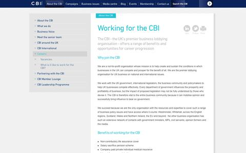 Screenshot of Jobs Page cbi.org.uk - CBI: Working for the CBI - captured Sept. 23, 2014