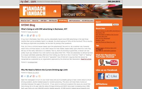 Screenshot of Blog nydwi.com - NYDWI Blog |  DWI Defense - nydwi.com - New York's DWI lawyer - Ed Fiandach - captured Oct. 5, 2014