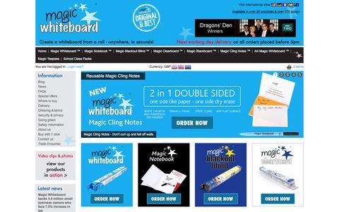 Screenshot of Home Page magicwhiteboard.co.uk - Dragons' Den Winners Magic Whiteboard ™ - captured Feb. 4, 2016