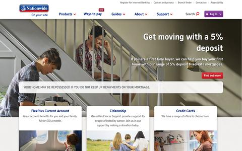 Screenshot of Home Page nationwide.co.uk - Nationwide: Savings, Mortgages, Current Accounts, Loans, Insurance - captured Oct. 2, 2015