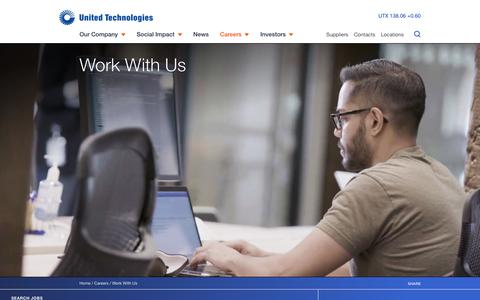 Screenshot of Jobs Page utc.com - Work With Us | United Technologies - captured Sept. 15, 2019