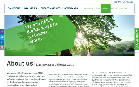 Screenshot of About Page amcsgroup.com - About AMCS: Waste & Recycling Industry Software and Cloud Service - captured Sept. 25, 2018