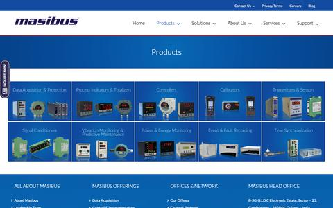 Screenshot of Products Page masibus.com - Products | Masibus Automation And Instrumentation - captured Nov. 15, 2018