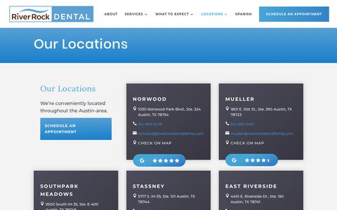Screenshot of Contact Page Locations Page riverrockdentalfamily.com - Locations | River Rock Dental | Family dentistry, orthodontics, and oral surgery | River Rock Dental | Austin, Texas - captured Dec. 14, 2019