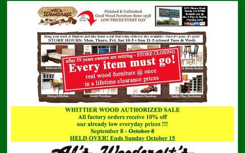 Screenshot of Home Page alswoodcraft.com - Al's Woodcraft - Store Closing - We Quit - Retiring - captured Oct. 7, 2017