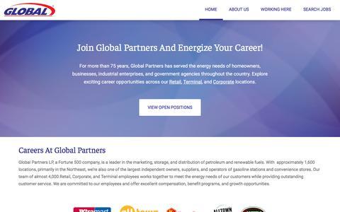 Screenshot of Jobs Page globalp.com - Careers   Global Partners - captured Jan. 12, 2020