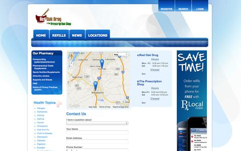 Screenshot of Contact Page Locations Page redoakdrug.com - Red Oak Drug and The Prescription Shop Waxahachie - captured Oct. 25, 2014
