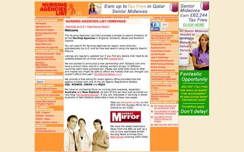 Screenshot of Home Page nursing-agencies-list.com - Nursing Agencies List (UK) - Online Nursing Agency Directory - captured Sept. 30, 2014