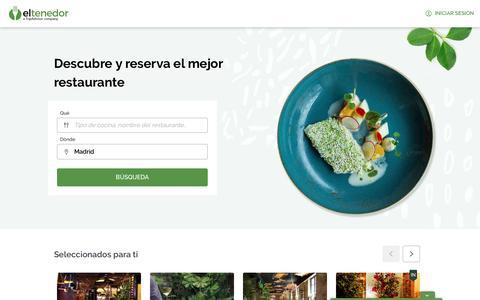 Screenshot of Home Page eltenedor.es - Guía de los mejores restaurantes de Madrid, Barcelona - ElTenedor - captured Feb. 12, 2020