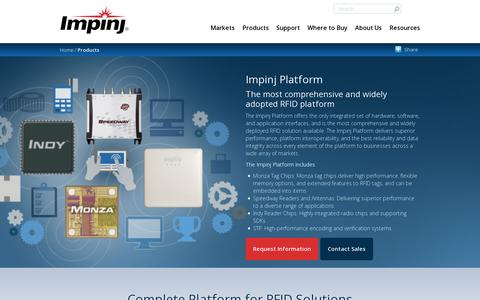 Screenshot of Products Page impinj.com - Impinj Platform | Impinj - captured July 18, 2014