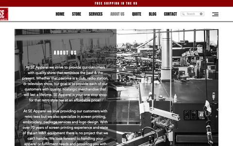 Screenshot of About Page seapparelinc.com - Retro T-Shirts | About | SE Apparel Inc. - captured Oct. 1, 2018