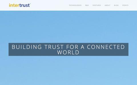 Screenshot of Home Page intertrust.com - Intertrust - captured Sept. 22, 2014