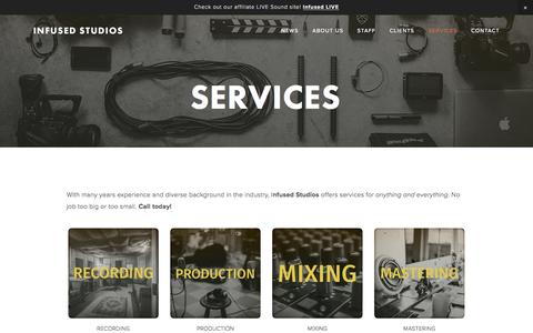 Screenshot of Services Page infusedstudios.com - Services — Infused Studios - captured Aug. 6, 2016