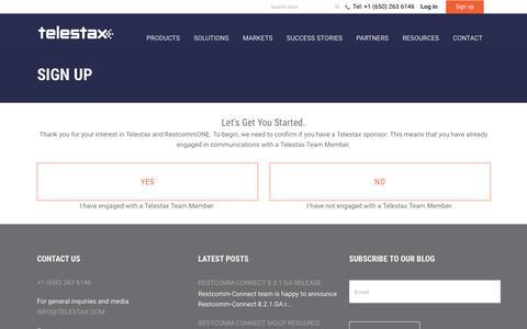 Screenshot of Signup Page telestax.com - Sign Up - Telestax - captured Nov. 8, 2017