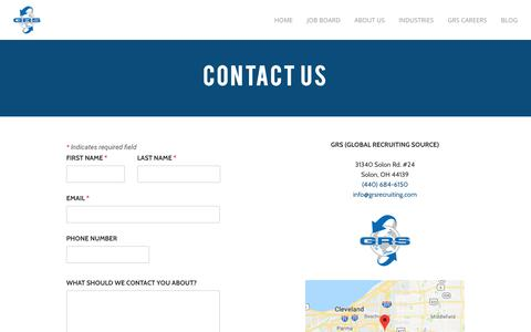 Screenshot of Contact Page grsrecruiting.com - Contact Us | GRS Recruiting  - GRS Recruiting - captured April 20, 2019